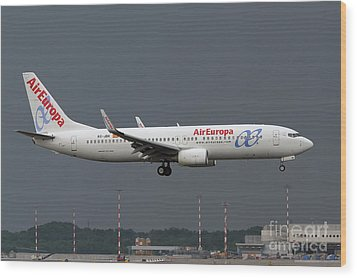 Wood Print featuring the photograph  Aireuropa - Boeing 737-800 - Ec-jbk  by Amos Dor