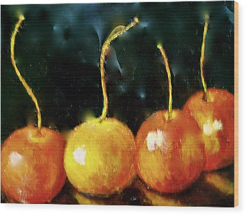 All Cherries In A Row Wood Print by Marie Hamby