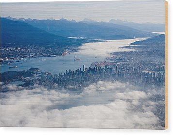 An Aerial View Of Vancouver Wood Print by Taylor S. Kennedy