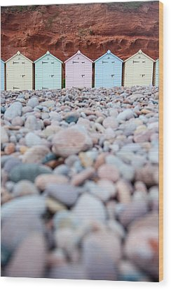 Beach Huts And Pebbles Wood Print