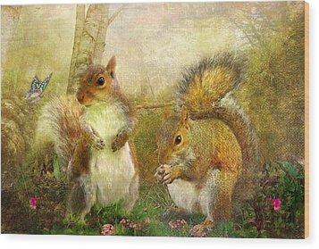 Brambleberry And Dandelion Wood Print