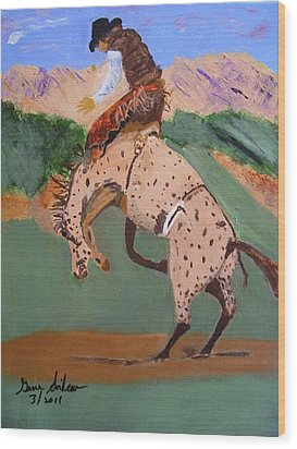 Bronco Rider On A Horse Wood Print by Swabby Soileau