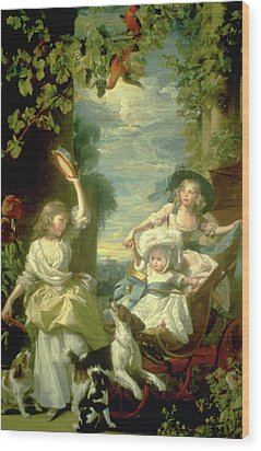 Bucoloic Painting By Honore Fragonard Wood Print by Carl Purcell