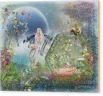 Wood Print featuring the digital art  Butterfly Fairy by Trudi Simmonds