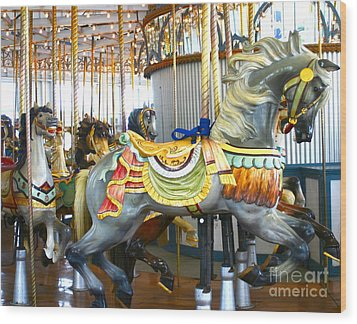 Carousel C Wood Print by Cindy Lee Longhini