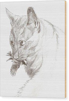 Cat And Chickadee Wood Print