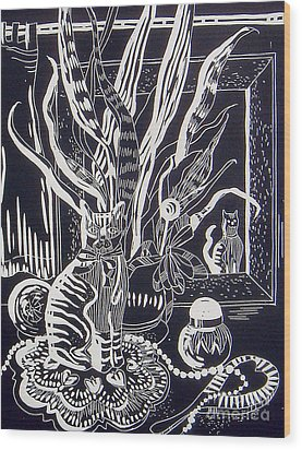 Cat On Dresser Wood Print