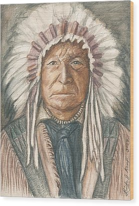 Chief Sitting Bear Wood Print