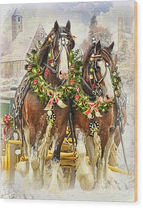 Wood Print featuring the digital art  Christmas Clydesdales by Trudi Simmonds