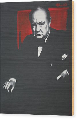 - Churchill - Wood Print by Luis Ludzska