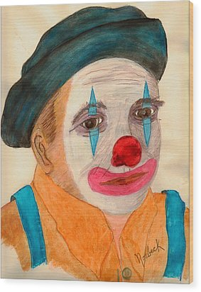 Clown Looking In A Mirror Wood Print by Thomas J Norbeck