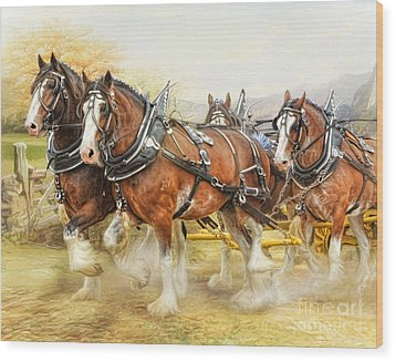 Wood Print featuring the digital art  Clydesdales In Harness by Trudi Simmonds