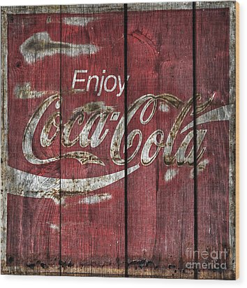 Coca Cola Sign Barn Wood Wood Print