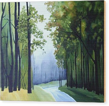 Country Road Wood Print by Carola Ann-Margret Forsberg