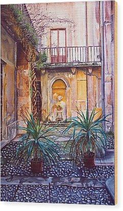 Courtyard Wood Print