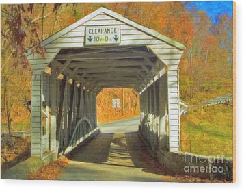 Wood Print featuring the photograph  Covered Bridge Watercolor  by David Zanzinger
