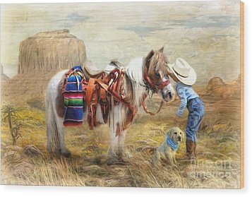 Wood Print featuring the digital art  Cowboy Up by Trudi Simmonds