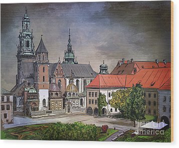 Wood Print featuring the painting  Cracow.world Youth Day In 2016. by Andrzej Szczerski