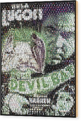 Wood Print featuring the mixed media  Devil Bat Movie Poster Horror Mosaic by Paul Van Scott