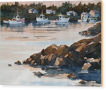 Docked At Dusk Wood Print by Art Scholz