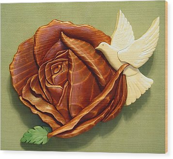 Dove On A Rose Wood Print by Russell Ellingsworth