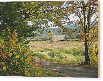 Fall At Grays River Covered Bridge Wood Print