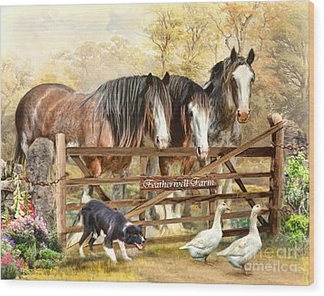 Wood Print featuring the digital art  Featherwell Farm by Trudi Simmonds