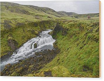 Fimmvorduhals Waterfall Wood Print