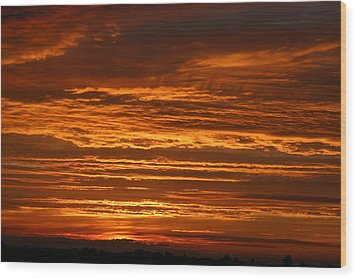 Firery Sky Wood Print by Dave Clark