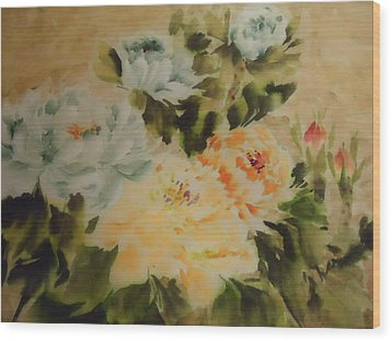 Wood Print featuring the painting  Flower 0727-3 by Dongling Sun
