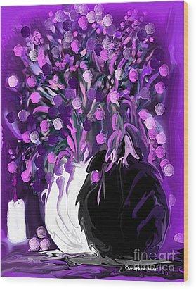 Flower Art Love Purple Flowers  Love Pink Flowers Wood Print