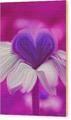 Wood Print featuring the photograph  Flower Heart by Linda Sannuti