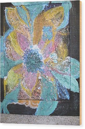 Flowover Flowers Uncropped  Wood Print by Anne-Elizabeth Whiteway