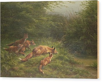 Foxes Waiting For The Prey   Wood Print by Carl Friedrich Deiker