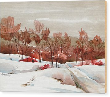 Frosted Red Wood Print by Art Scholz