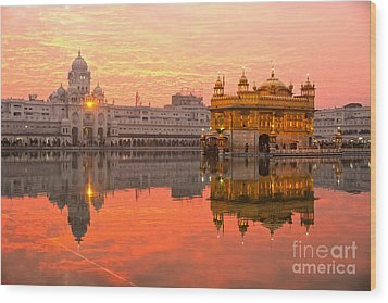 Wood Print featuring the photograph  Golden Temple by Luciano Mortula
