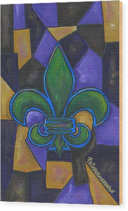 Green Fleur De Lis Wood Print by Patti Schermerhorn