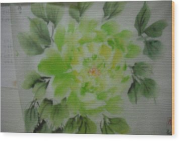 Green Peony004 Wood Print by Dongling Sun