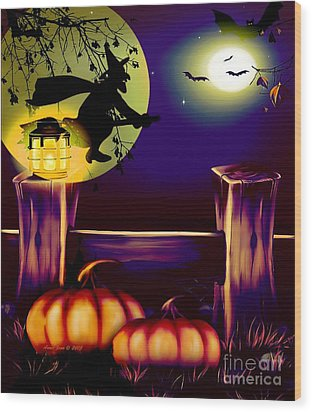 Halloween Witches Moon Bats And Pumpkins Wood Print