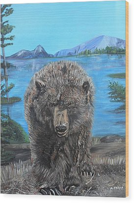 Hello Grizzley Bear Wood Print by Aleta Parks