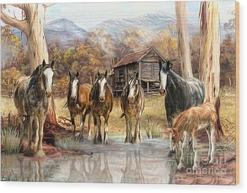 Wood Print featuring the digital art  High Country Hideaway by Trudi Simmonds