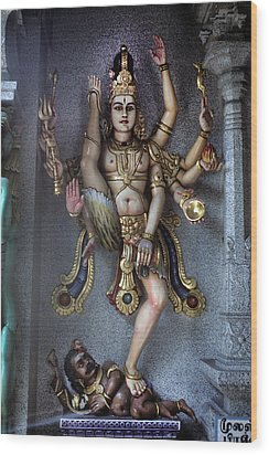 Hindu God Kali Wood Print by Carl Purcell