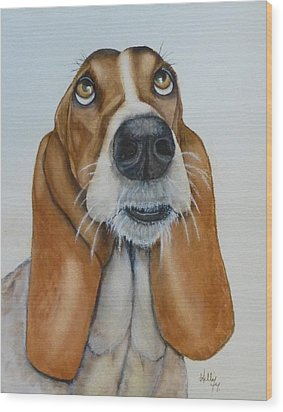 Hound Dog's Pleeease Wood Print