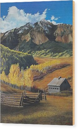 Wood Print featuring the painting  I Will Lift Up My Eyes To The Hills Autumn Nostalgia  Wilson Peak Colorado by Anastasia Savage Ealy