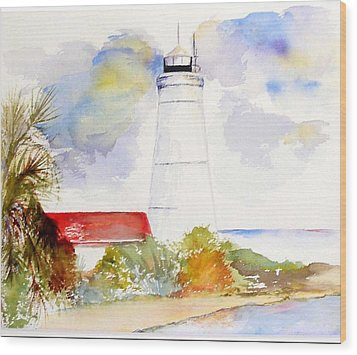 Wood Print featuring the painting  Impression St Marks Lighthouse by Sibby S