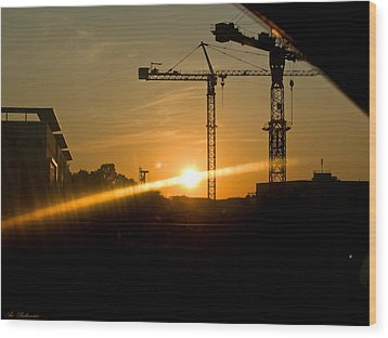 Wood Print featuring the photograph  Industrial Sunrise by Arik Baltinester