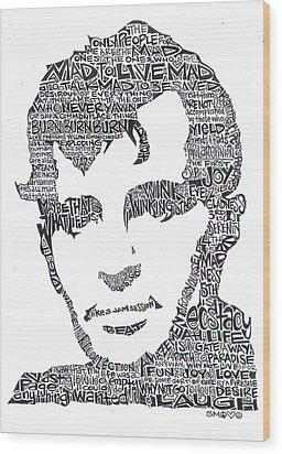 Jack Kerouac Black And White Word Portrait Wood Print by Kato Smock