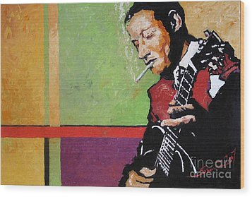 Jazz Guitarist Wood Print by Yuriy  Shevchuk