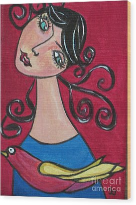 Lady And The Bird Wood Print by Joyce Gebauer