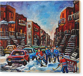 Late Afternoon Street Hockey Wood Print by Carole Spandau